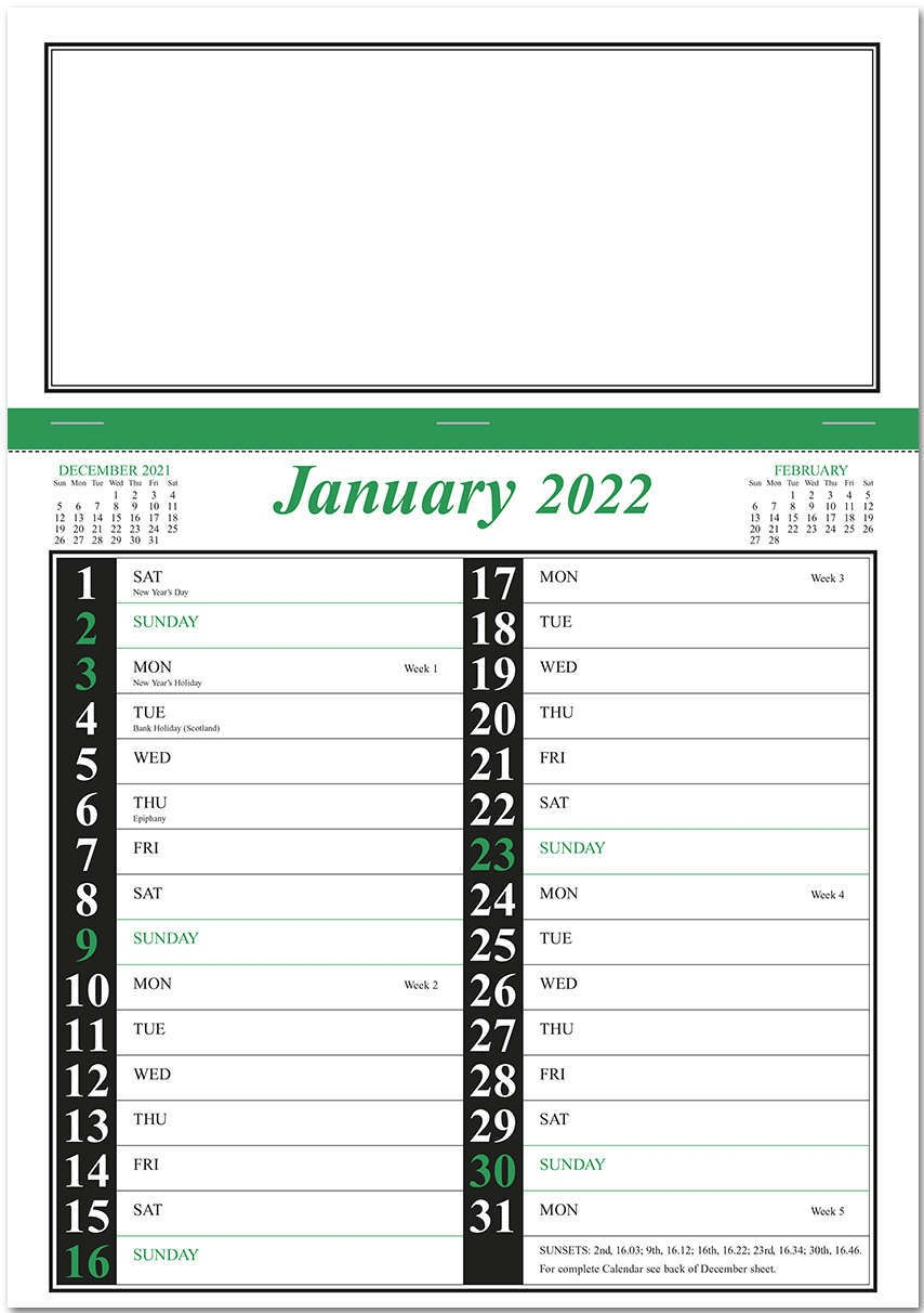 Green & Black Memo Postal Saver Calendar