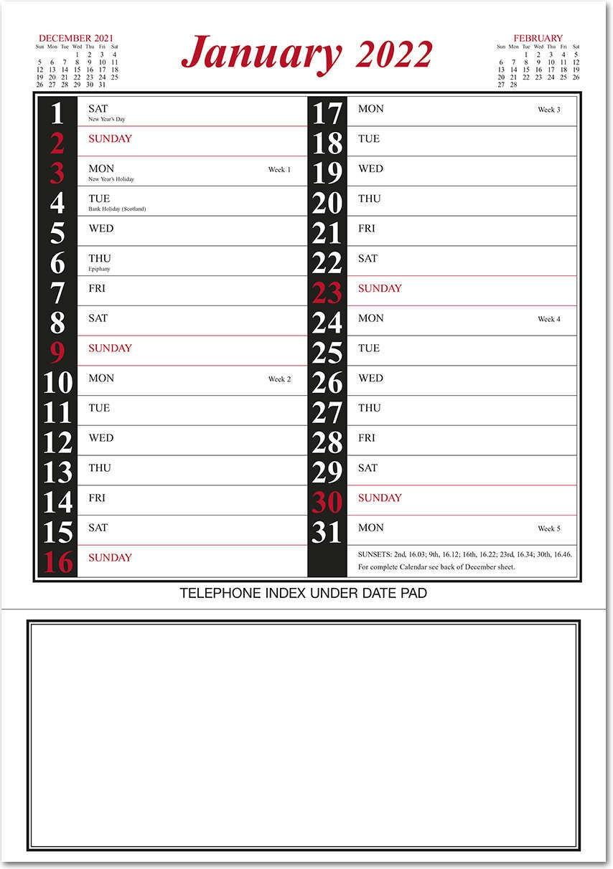 Postal Calendar 2022.Red Black Memo Postal Saver Calendar 2022 Rose Calendars
