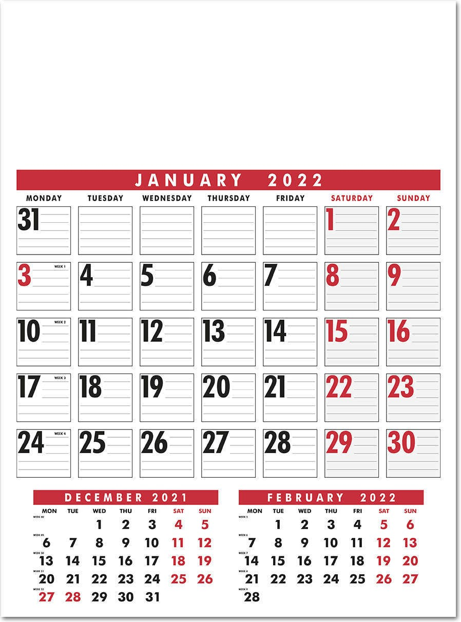 Large Wire Bound Calendar - Red and Black
