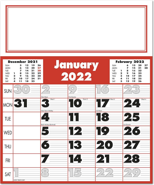 Large Calendar 2022.Extra Large Bold Figure Calendar 2022 Rose Calendars