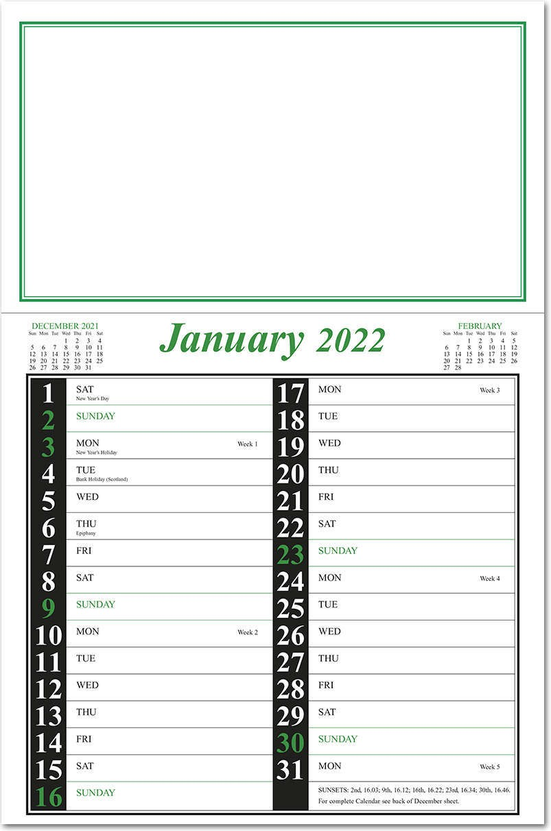 Appointment Memo Calendar - Green and Black