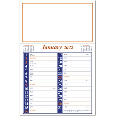 Appointment Memo Calendar - Blue and Orange