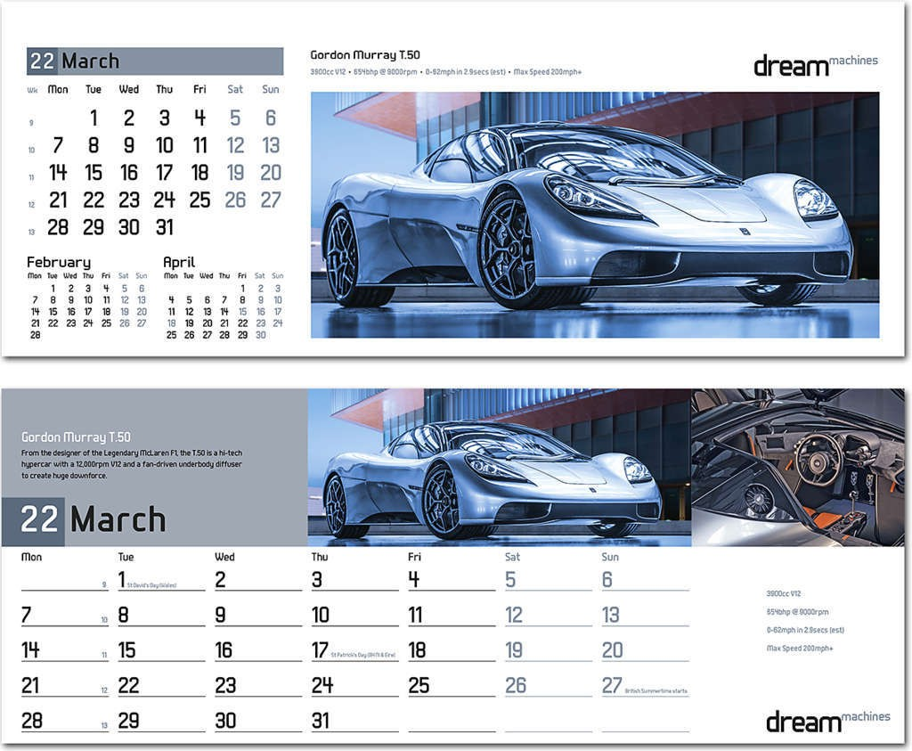 Dream Machines Desk Calendar