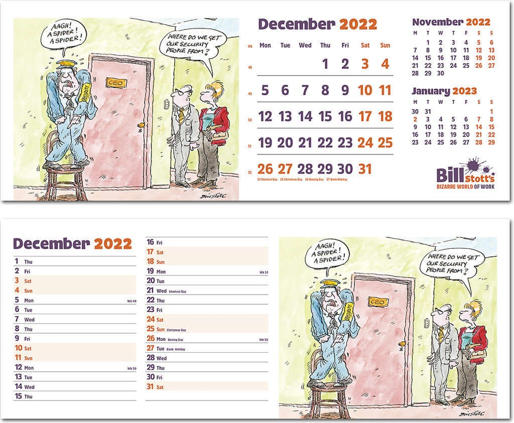 Bill Stott's Bizarre World of Work Premium Lined Easel Desk Calendar