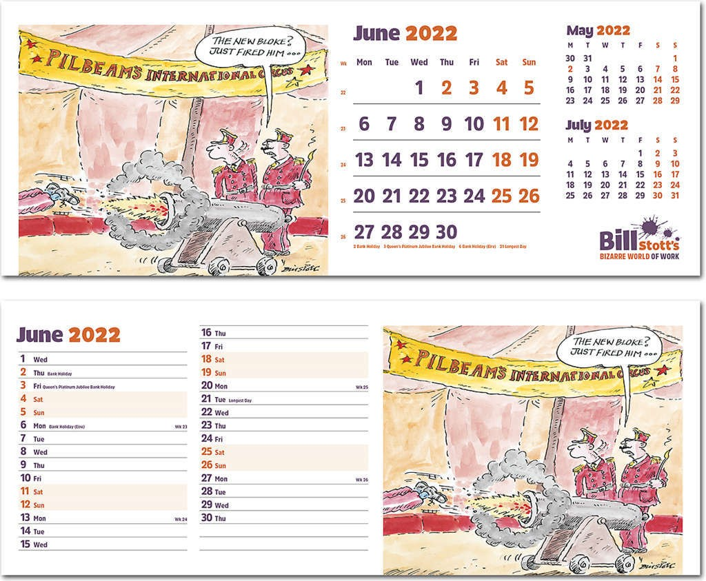Bill Stott's Bizarre World of Work Task Station Desk Calendar