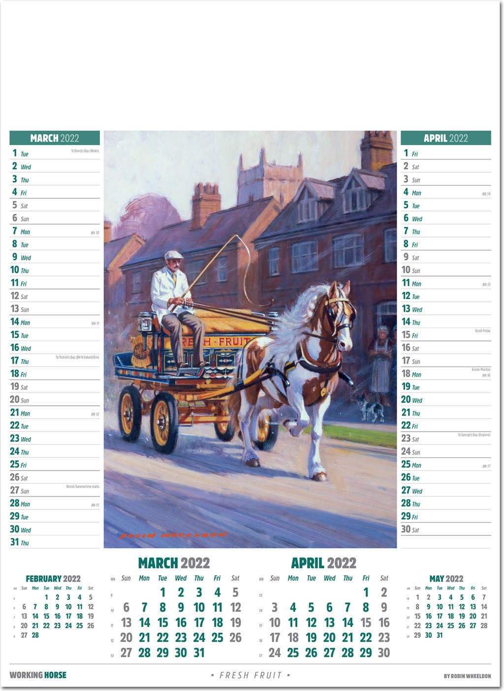 Horse Calendar 2022.The Working Horse Calendar 2022 Rose Calendars