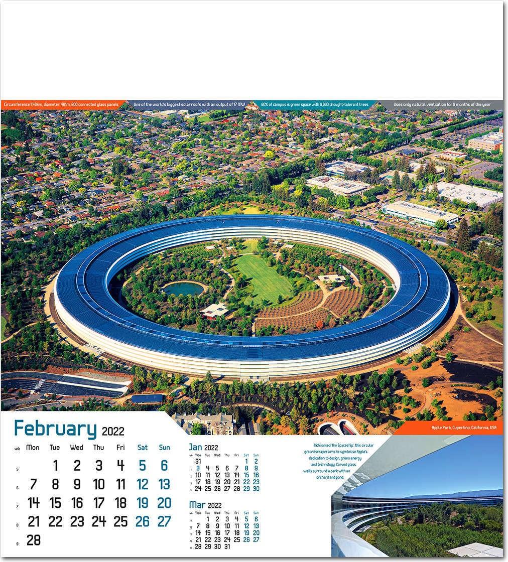 Solar Calendar 2022.Iconic Structures Wall Calendar 2022 Rose Calendars